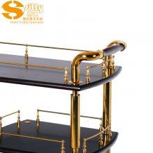 专业生产SITTY斯迪95.8111简约现代金属加实木结构双层酒水车/服务车/手推餐车