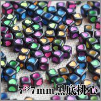 7mm四方爱心桃心形字母珠子手工diy材料包 亚克力珠子散珠批发