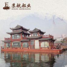 现货销售双舵观光船仿古画舫超大型餐饮船