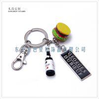 仿真汉堡酒瓶钥匙扣   长方形logo钥匙挂件 美食节礼品  树脂钥匙