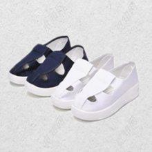 厂家批发坚成电子防静电鞋子无尘车间防滑耐磨耐酸PVC静电鞋四孔