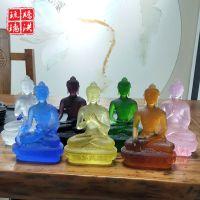 蓝色琉璃光如来药师佛像 七种颜色大中小号琉璃佛像工艺品可来图来样加工定制