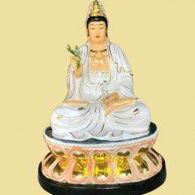 自在观音佛像厂家定制 木雕白衣观音佛像价格 佛教用品 镀金观音娘娘神像