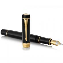PARKER派克 法国进口 世纪 标准装纯黑金夹墨水笔 钢笔 高端金笔 周年庆典纪念礼品