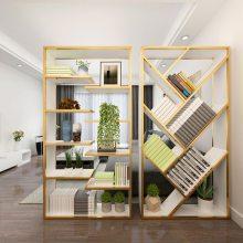 北欧落地铁艺实木书架客厅屏风隔断置物架玄关柜办公室文件架