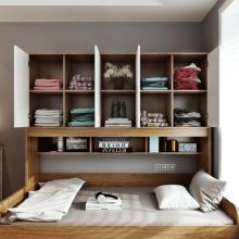 儿童衣柜床一体 简约现代多功能拖床抽拉床小户型省空间床柜一体