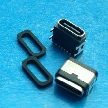 板上防水type-c母座6P 短体贴片SMT 四脚90度dip 带防水胶圈