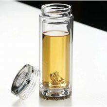 高级银币盖高档水晶杯 高级银饰双层隔热水晶玻璃杯 高档双层玻璃杯厂家 高级双层玻璃杯礼品