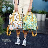 2018夏季新款文艺清新印花水果双肩包大容量学生包手提包