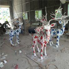 定做户外园林仿真梅花鹿玻璃钢雕塑楼盘小区草坪景观招财装饰小品摆件