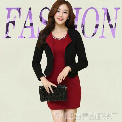 秋冬淑女装短款气质韩版修身长袖优雅连衣裙加西装女装两件套批发
