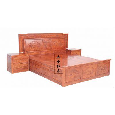 明清古典红木家具非洲花梨缅甸花梨木家具双人床1.8米辉煌实木床
