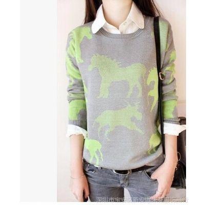 供应新款韩版女装小马图案圆领长袖针织衫宽松套头毛衣女