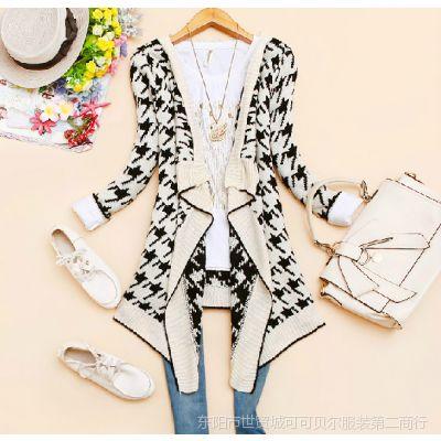 韩版2014新款秋装女装翻领中长款长袖大版针织衫外套