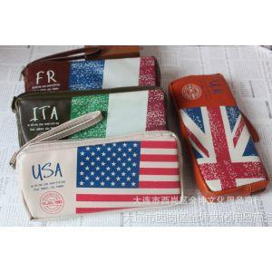 供应学生文具批发 斯普维加 新国旗PU方形笔袋 现只有法国和意大利