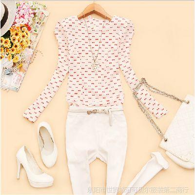 韩版2014新款秋装女装圆领垫肩印花修身上衣衬衫