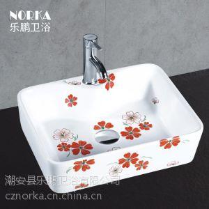 供应乐鹏卫浴 脸盆脸池陶瓷柜盆 出口陶瓷洗手盆 洗脸盆