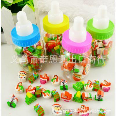 圣诞奶瓶橡皮 造型人物多色挤出橡皮擦 韩国文具批发 厂家直销
