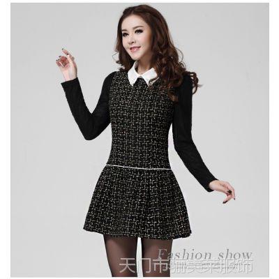 女装2014秋冬装新款韩版修身气质OL长袖大码显瘦毛呢连衣裙