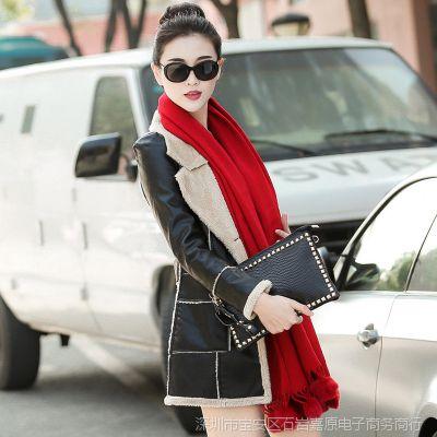 女士皮衣新款批发 英伦大码羊羔毛翻领PU皮女外套机车皮衣女装潮