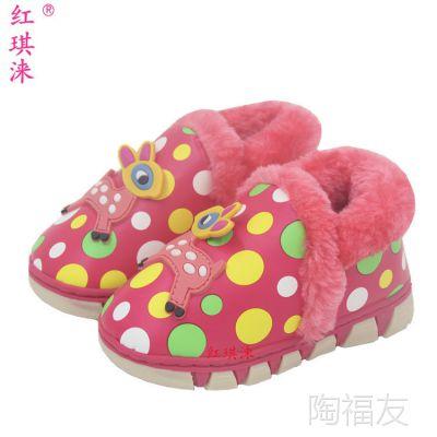 冬季新款1-3岁儿童保暖鞋 4-6岁中童棉鞋小鹿包跟鞋居家居雪地鞋