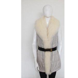 供应厂家直销批发两面穿獭兔貉子拼接狐狸领中长款女士无袖皮草服装