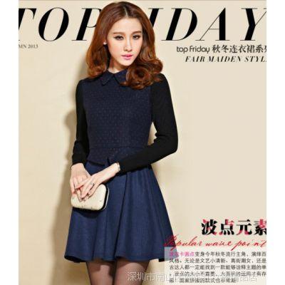 实拍2652# 春装新款韩版女装气质修身打底裙大码毛呢连衣裙