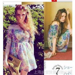 供应4月人气新品LENA着DAZZLIN复古绚烂花朵一字领褶皱连衣裙