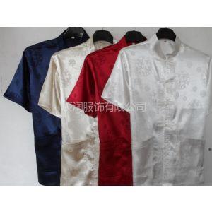 供应夏季新款唐装真丝男士短袖上衣男中老年人汉服中国风男式短袖套装