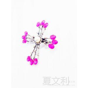 供应十字架胸针 合金金属胸花 镶钻胸花 服装胸花 服装配饰领花