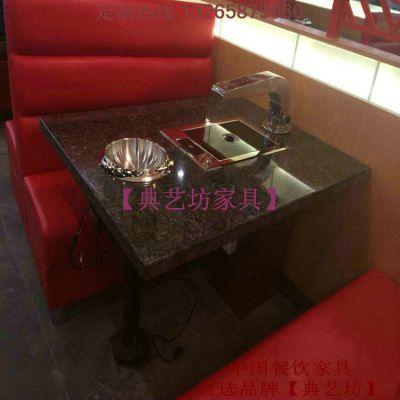 厂家定制 大理石4人位火锅桌椅组合 铸铁火锅桌椅 电磁炉火锅桌 烧烤桌