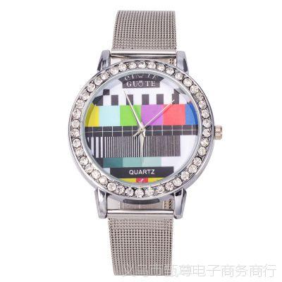 速卖通爆款个性时尚电视机频道女士时装网带手表 新款合金手表