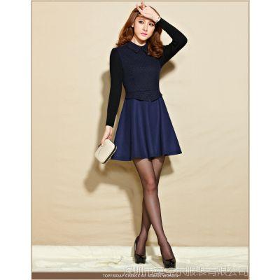 2014秋冬季新款韩版女装气质修身打底裙大码毛呢连衣裙