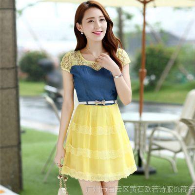 供应2014夏装新款女装连衣裙 韩版修身大码短袖牛仔拼接蕾丝连衣裙