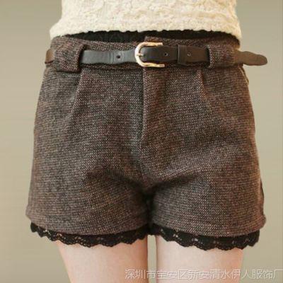 2014 秋装新款韩版潮百搭显瘦蕾丝花边毛呢短裤加厚休闲大码靴裤