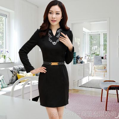2014秋装新款韩版女装一步裙修身秋冬长袖时尚连衣裙