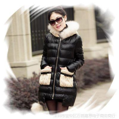 冬季棉皮衣女装连帽加厚皮棉衣外套韩版棉袄中长款带毛拼接女款