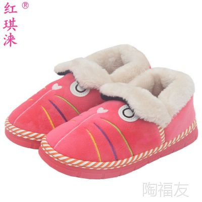 冬季7-11岁中童大童棉鞋 时尚韩版包跟鞋猫咪棉拖鞋居家保暖鞋