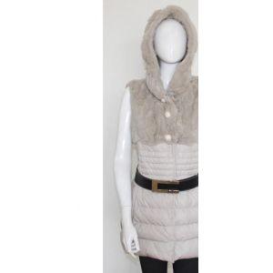 供应厂家直销批发定做獭兔拼接女士皮草连帽无袖中长款皮草羽绒服装