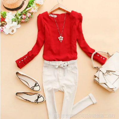 韩版2014新款秋装女装圆领垫肩压褶九分袖纯色衬衫