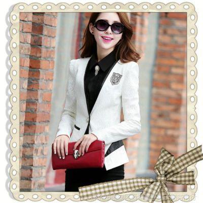 2015小西装女 韩版高端蕾丝拼皮女装新款短款西装修身镶钻外套女