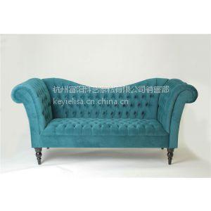 供应出口家具蓝色绒布双人位沙发|蓝色带纽扣带扶手双人位沙发
