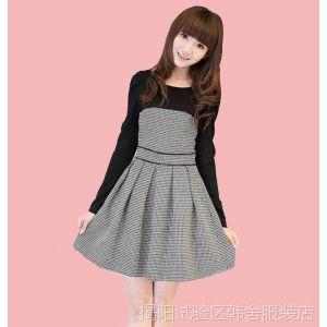 供应2013秋冬韩版修身连衣裙 大码显瘦打底毛呢长袖气质连衣裙