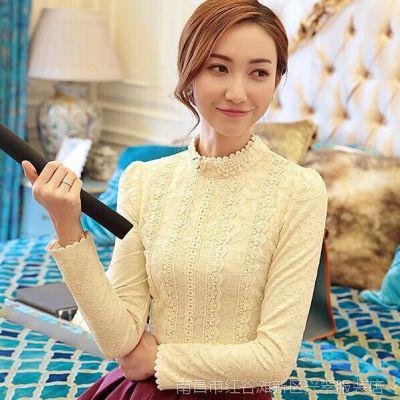 加厚加绒蕾丝打底衫女长袖上衣 秋冬新款修身高领泡泡袖蕾丝