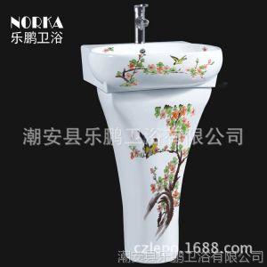 供应广东卫浴洁具 连体座便器 马桶厂家招商 手绘立柱盆