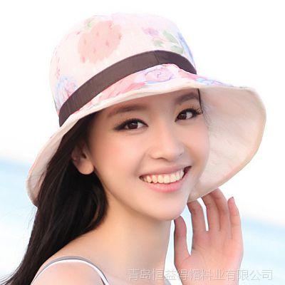 青岛帽子厂家青岛帽厂长期供应女式米色绣花水桶帽 盆帽 大沿帽