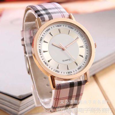 速卖通爆款批发新款彩色格子表韩版时尚PU皮手表金属外壳 潮流表