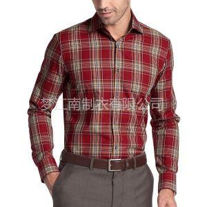 供应休闲格子男士衬衫定制衬衫贴牌工厂