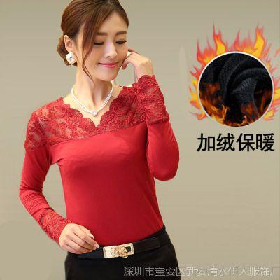 2014秋冬新款韩版修身女t恤大码网纱V领长袖蕾丝加绒打底衫上衣