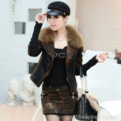 短款小外套短新款短女装流行冬装皮衣翻领修身超短拼接韩版短加盟